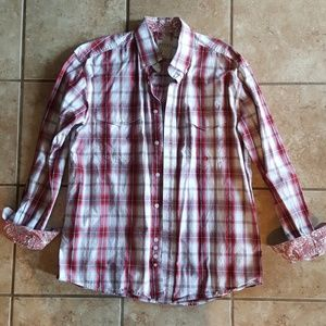 Roper Button Up Long Sleeve Western Shirt. Size M
